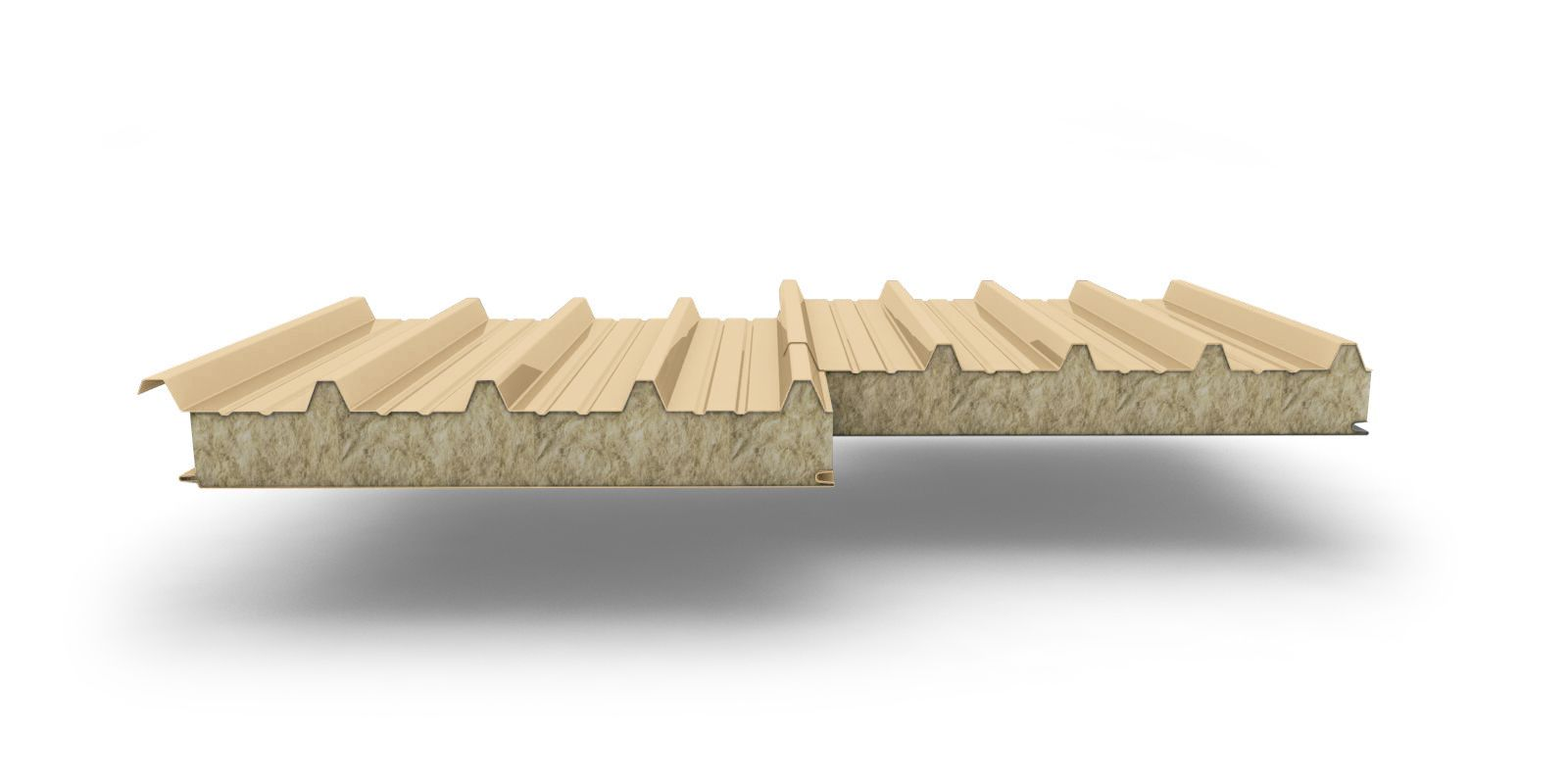 Sandwich panel roofing with mineral wool insulation